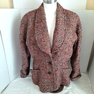 Vintage KL by Karl Lagerfeld Bouclé Tweed Fall Blazer Jacket  Multicolor  1980s